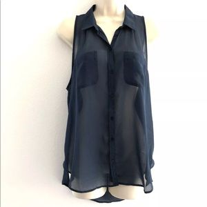 Hollister Tunic Top Sleeveless Sheer Blue Medium